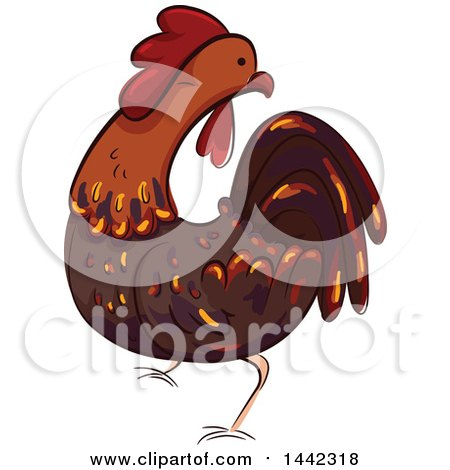Clipart of a Rooster Chicken - Royalty Free Vector Illustration by BNP Design Studio