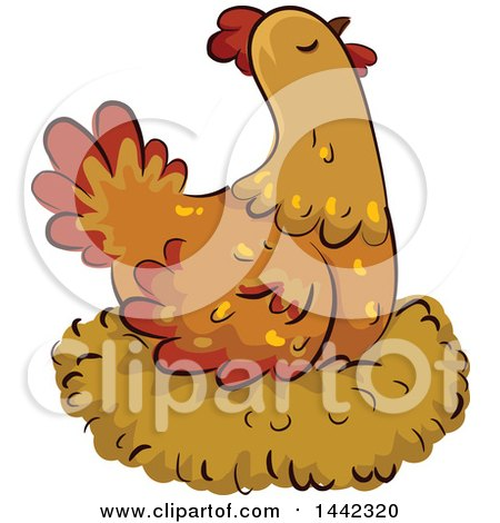 Clipart of a Hen Chicken on a Nest - Royalty Free Vector Illustration by BNP Design Studio