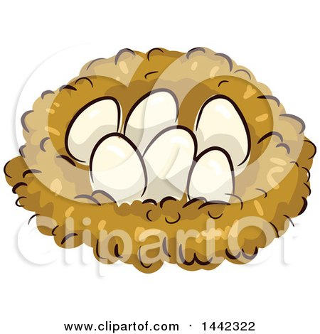 Clipart of a Nest with Chicken Eggs - Royalty Free Vector Illustration by BNP Design Studio
