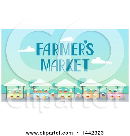 Clipart of a Farmers Market with Stands and Text - Royalty Free Vector Illustration by BNP Design Studio