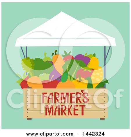 Clipart of a Farmers Market Stall with Produce on Green - Royalty Free Vector Illustration by BNP Design Studio