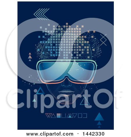 Clipart of a Man Wearing Virtual Reality Goggles, with Geometric Shapes - Royalty Free Vector Illustration by BNP Design Studio
