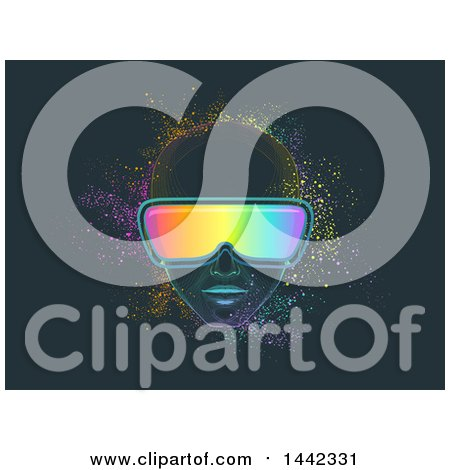 Clipart of a Man Wearing Virtual Reality Goggles, with Colorful Dust - Royalty Free Vector Illustration by BNP Design Studio