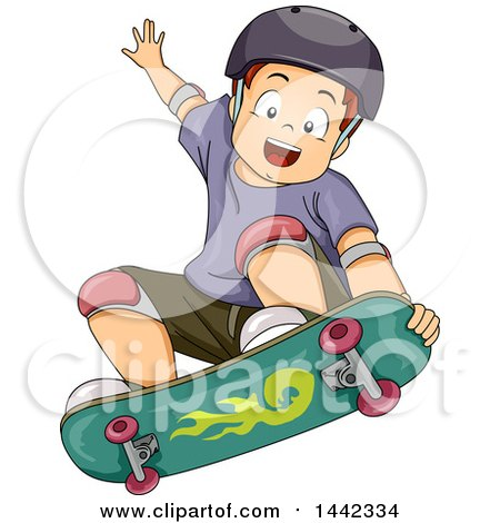 Clipart of a Cartoon Caucasian Boy Skateboarding and Catching Air - Royalty Free Vector Illustration by BNP Design Studio