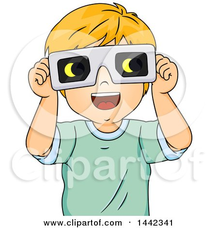 Clipart of a Cartoon Red Haired Caucasian Boy Wearing Eclipse Glasses - Royalty Free Vector Illustration by BNP Design Studio