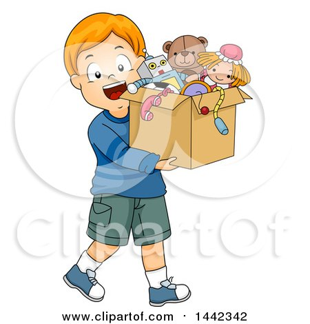 Clipart of a Cartoon Red Haired Caucasian Boy Carrying a Box of Old Toys - Royalty Free Vector Illustration by BNP Design Studio