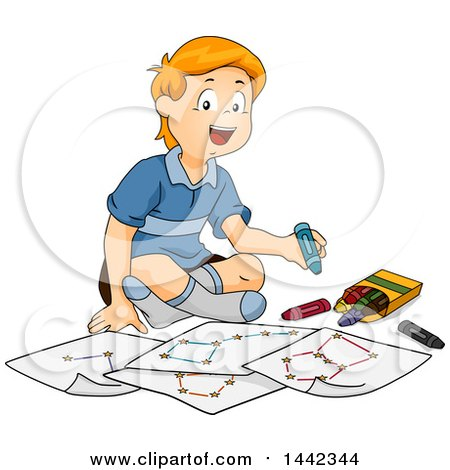Clipart of a Cartoon Red Haired Caucasian Boy Sitting on the Floor and Drawing Constellations - Royalty Free Vector Illustration by BNP Design Studio
