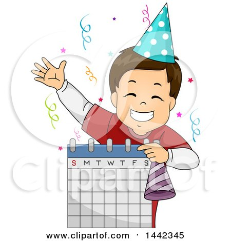 Clipart of a Cartoon Brunette Caucasian Boy Celebrating His Birthday and Holding a Calendar - Royalty Free Vector Illustration by BNP Design Studio