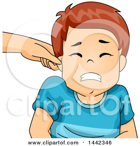 Clipart of a Parent Pinching a Caucasian Boy's Ear - Royalty Free Vector Illustration by BNP Design Studio