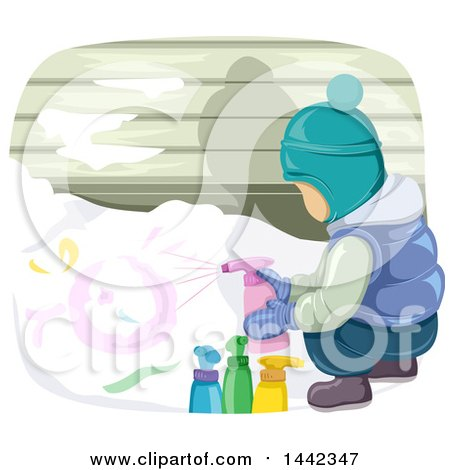 Clipart of a Boy in Winter Clothing Spray Painting Snow - Royalty Free Vector Illustration by ...