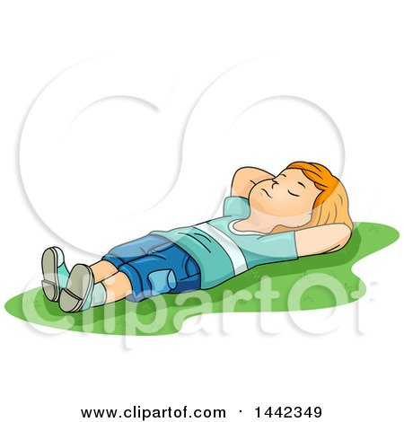 Clipart Of A Cartoon Red Haired Caucasian Boy Laying On His Back In Grass Royalty Free Vector Illustration