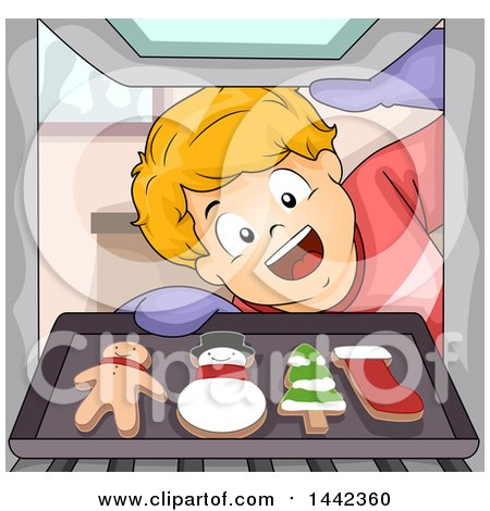Clipart of a Cartoon Excited Caucasian Boy Pulling out Christmas Gingerbread Cookies from an Oven - Royalty Free Vector Illustration by BNP Design Studio