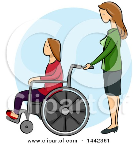 Clipart of a Sketched Caucasian Woman Pushing Her Disabled Daughter in a Wheelchair - Royalty Free Vector Illustration by BNP Design Studio