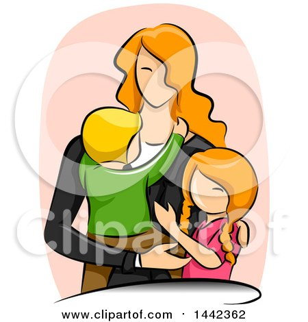 Clipart of a Sketched Red Haired Caucasian Mother with Her Son and Daughter - Royalty Free Vector Illustration by BNP Design Studio