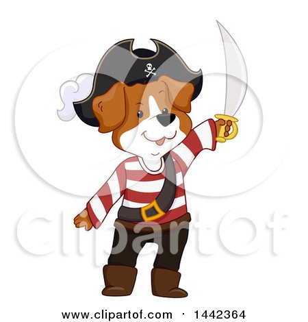 Clipart of a Pirate Dog Holding up a Sword - Royalty Free Vector Illustration by BNP Design Studio