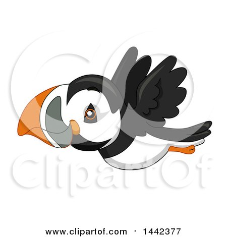 Clipart of a Cute Flying Puffin Bird - Royalty Free Vector Illustration by BNP Design Studio