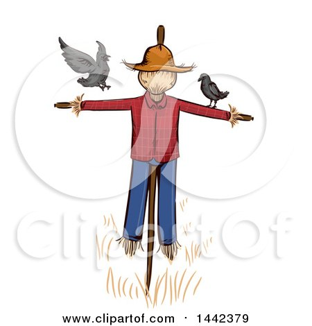 Clipart of a Scarecrow with Crows - Royalty Free Vector Illustration by BNP Design Studio