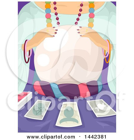 Clipart of a Gypsy Woman Telling the Future with Tarot Cards and a Crystal Ball - Royalty Free Vector Illustration by BNP Design Studio