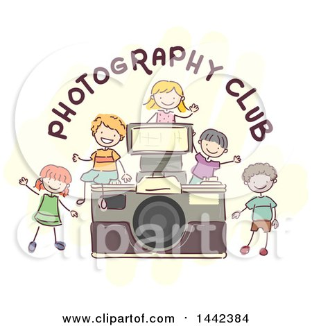 Group Of Sketched Children By A Camera With Photography Club Text BNP Design Studio