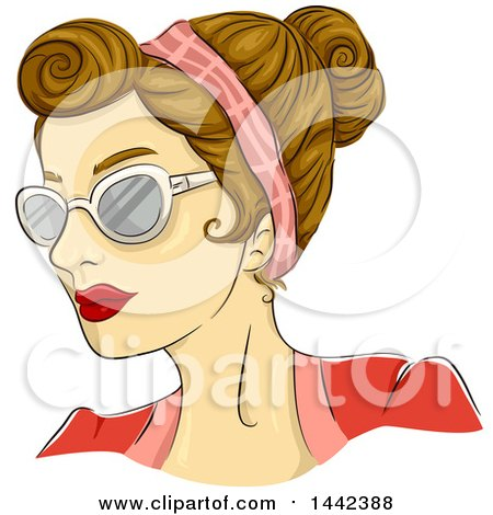 Clipart of a Sketched Caucasian Woman with a 50s Rockabilly Rosie Hairstyle and Butterfly Glasses - Royalty Free Vector Illustration by BNP Design Studio