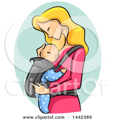 Clipart of a Sketched Blond Caucasian Mother Adoring Her Baby - Royalty Free Vector Illustration by BNP Design Studio