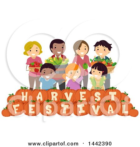 Clipart of a Group of Farmers with Produce over Harvest Festival Text Pumpkins - Royalty Free Vector Illustration by BNP Design Studio