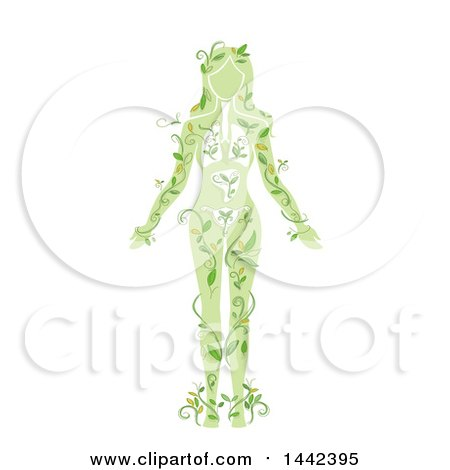 Clipart of a Silhouetted Woman's Body with Visible Organs and Vines - Royalty Free Vector Illustration by BNP Design Studio