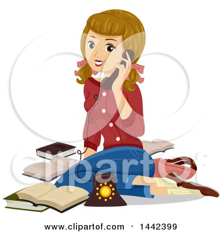 Clipart of a Vintage Caucasian Teenage Girl Sitting on the Floor and Talking on the Phone - Royalty Free Vector Illustration by BNP Design Studio