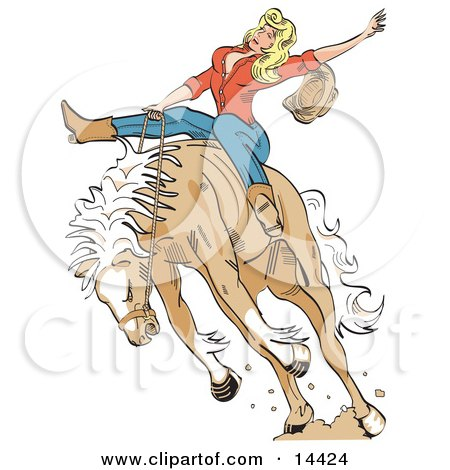 Attractive Blonde Cowgirl Riding a Bucking Bronco Horse in a Rodeo Clipart Illustration by Andy Nortnik