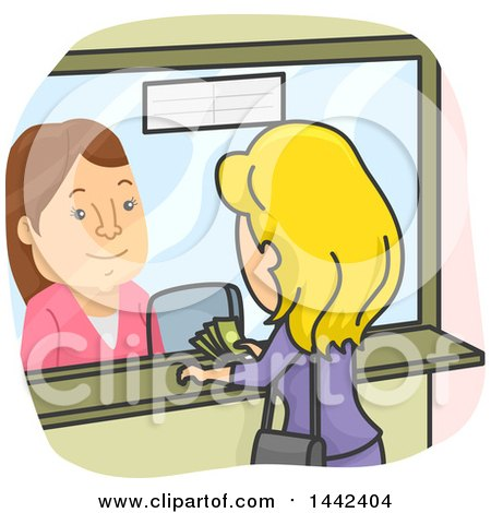 Clipart of a Cartoon Caucasian Woman Paying a Cashier at a Booth - Royalty Free Vector Illustration by BNP Design Studio