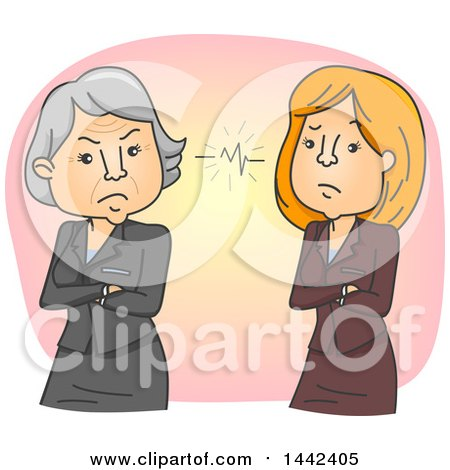 Cartoon Senior and Middle Aged Business Women in a Conflict Due to a Generation Gap Posters, Art Prints