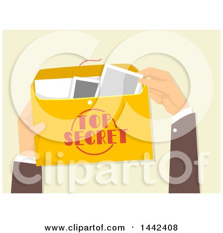 Clipart of a Man's Hands Holding and Opening a Top Secret Envelope - Royalty Free Vector Illustration by BNP Design Studio