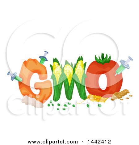 Clipart of a GMO Text Design with Syringes Injecting Produce - Royalty Free Vector Illustration by BNP Design Studio