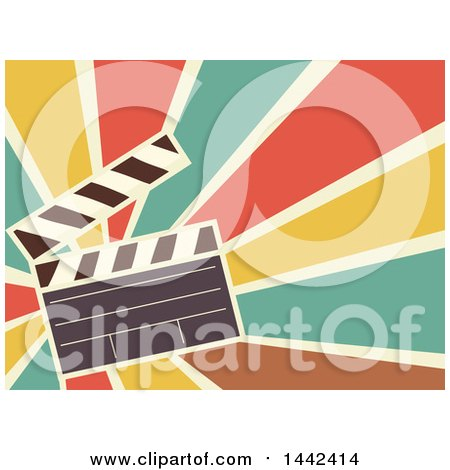 Clipart Of A Retro Flat Styled Clapperboard Over Rays Royalty Free Vector Illustration