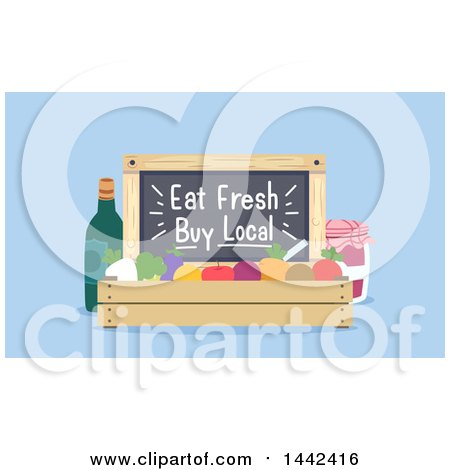 Clipart of a Crate of Produce with an Eat Fresh Buy Local Blackboard - Royalty Free Vector Illustration by BNP Design Studio