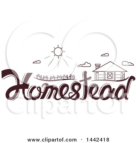 Clipart of a Sun and Homestead over Text - Royalty Free Vector Illustration by BNP Design Studio