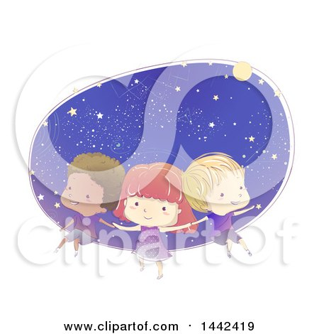 Clipart Of A Sketched Group Of Children Floating In Outer Space Royalty Free Vector Illustration