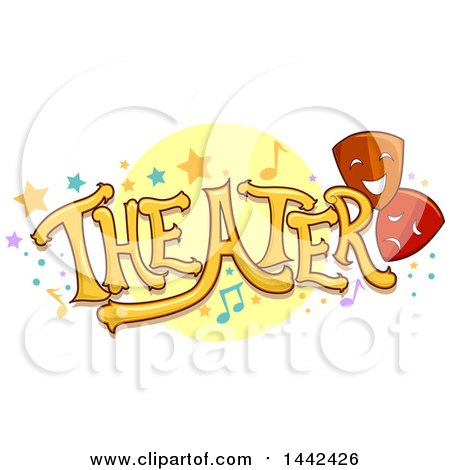 Clipart of the Word Theater with Stars, Dots, Music Notes and Masks - Royalty Free Vector Illustration by BNP Design Studio