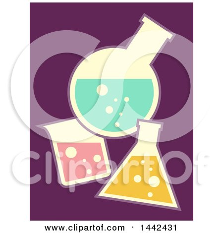 Clipart of Flat Styled Laboratory Glass Containers over Purple - Royalty Free Vector Illustration by BNP Design Studio