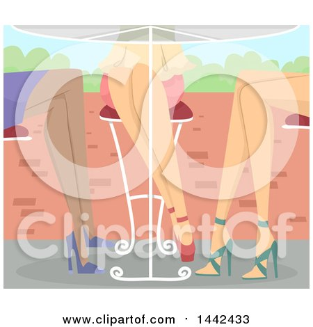 Clipart of a Patio Table at an Outdoor Cafe with the Legs of Three Women in Heels - Royalty Free Vector Illustration by BNP Design Studio