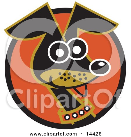 Cute and Alert Daschund Dog Wearing a Collar Clipart Illustration by Andy Nortnik