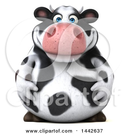 Clipart of a 3d Holstein Cow Character, on a White Background - Royalty Free Illustration by Julos