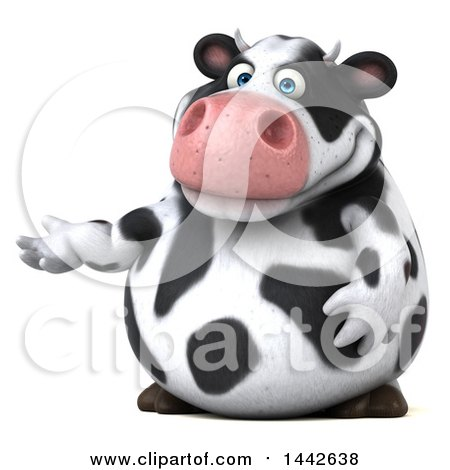 Clipart of a 3d Holstein Cow Character Presenting, on a White Background - Royalty Free Illustration by Julos