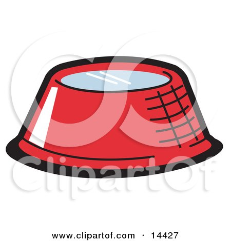 Red Metal Dog Bowl With Fresh Water Clipart Illustration by Andy Nortnik