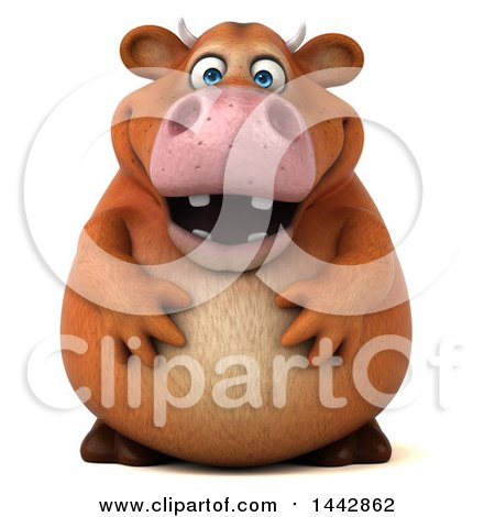 Clipart of a 3d Brown Cow Character, on a White Background - Royalty Free Illustration by Julos