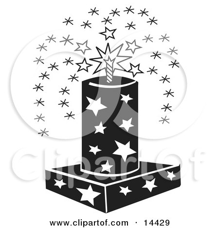 July 4th Fireworks Fountain With Stars Clipart Illustration by Andy Nortnik