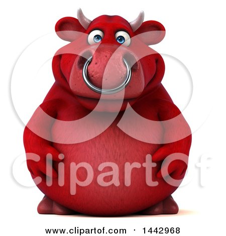 Clipart of a 3d Red Bull Character, on a White Background - Royalty Free Illustration by Julos
