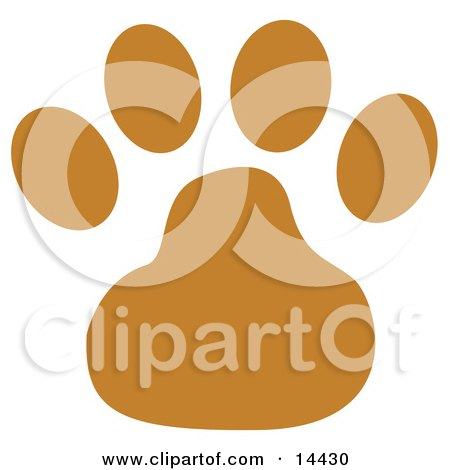 Dog Clip Art - Brown Dog Paw Print Clipart Illustration Posters, Art Prints