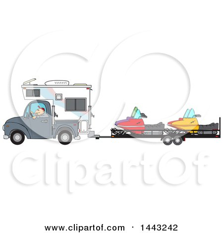 Clipart of a Cartoon Caucasian Man Driving a Truck and Camper and Towing Snowmbiles on a Trailer - Royalty Free Vector Illustration by djart