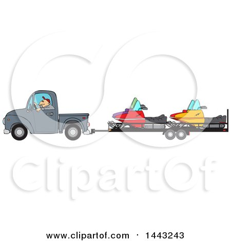 Clipart of a Cartoon Caucasian Man Driving a Truck and Towing Snowmobiles on a Trailer - Royalty Free Vector Illustration by djart